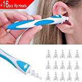 #10: Earwax Remover, SaikerMan Soft Safe Silicone Spiral Ear Wax Removal Cleaner Tool with 16 pcs Replacement Heads