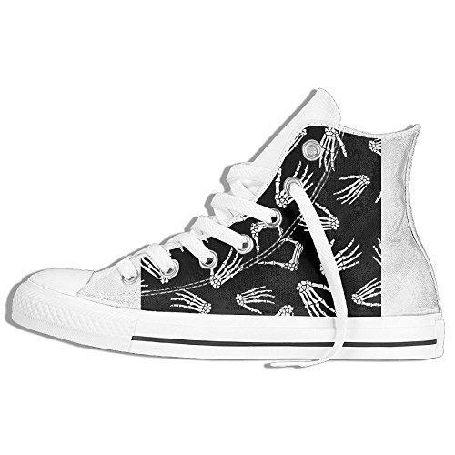 Classiche Sneakers Alte Scarpe Di Tela Antiscivolo Scheletro Mano Casual Da Passeggio Per Uomo Donna Bianco
