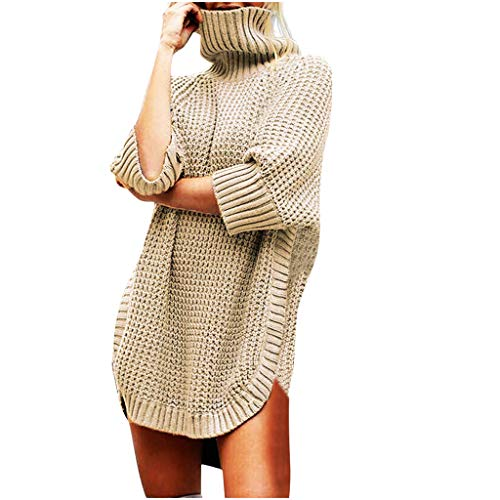 LEKODE Women T-Shirts Turtleneck Knitted Solid Half Sleeve Pretty Wild Tunic(Khaki,L)