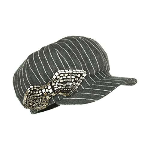 Grey Pinstripe Newsboy Hat, Cute Vintage Style Pageboy Cap With Studded Bow