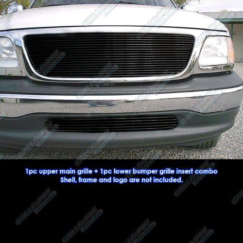 APS Fits 99-03 Ford F-150 2WD Black Billet Grille Combo Insert - Ford 03 Billet F150 Grille