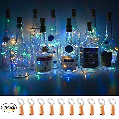 Halloween Painted Wine Bottles (WSgift Wine Bottle Lights with Cork,10 Pack Battery Operated 15 LED Cork Shape Silver Copper Wire Fairy Mini String Lights for DIY, Party, Decor, Christmas, Halloween,Wedding (4 Colors)