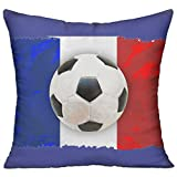 Baozheng French Soccer 18x18 Inch Square Pillow Home Decor Pillow Standard Form Insert With Interior Inner