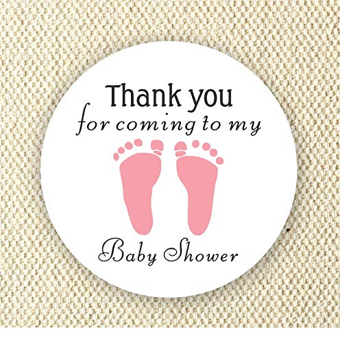 Baby Footprint Favor Stickers - Baby Shower Stickers - it's a girls Favor stickers- Thank you stickers - Rose color from Philly Art & Crafts