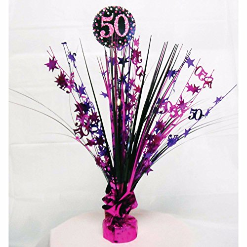 50 Centerpiece Spray (Amscan Sparkling Celebration 50th Birthday Centerpiece Spray Decoration (One Size) (Pink))