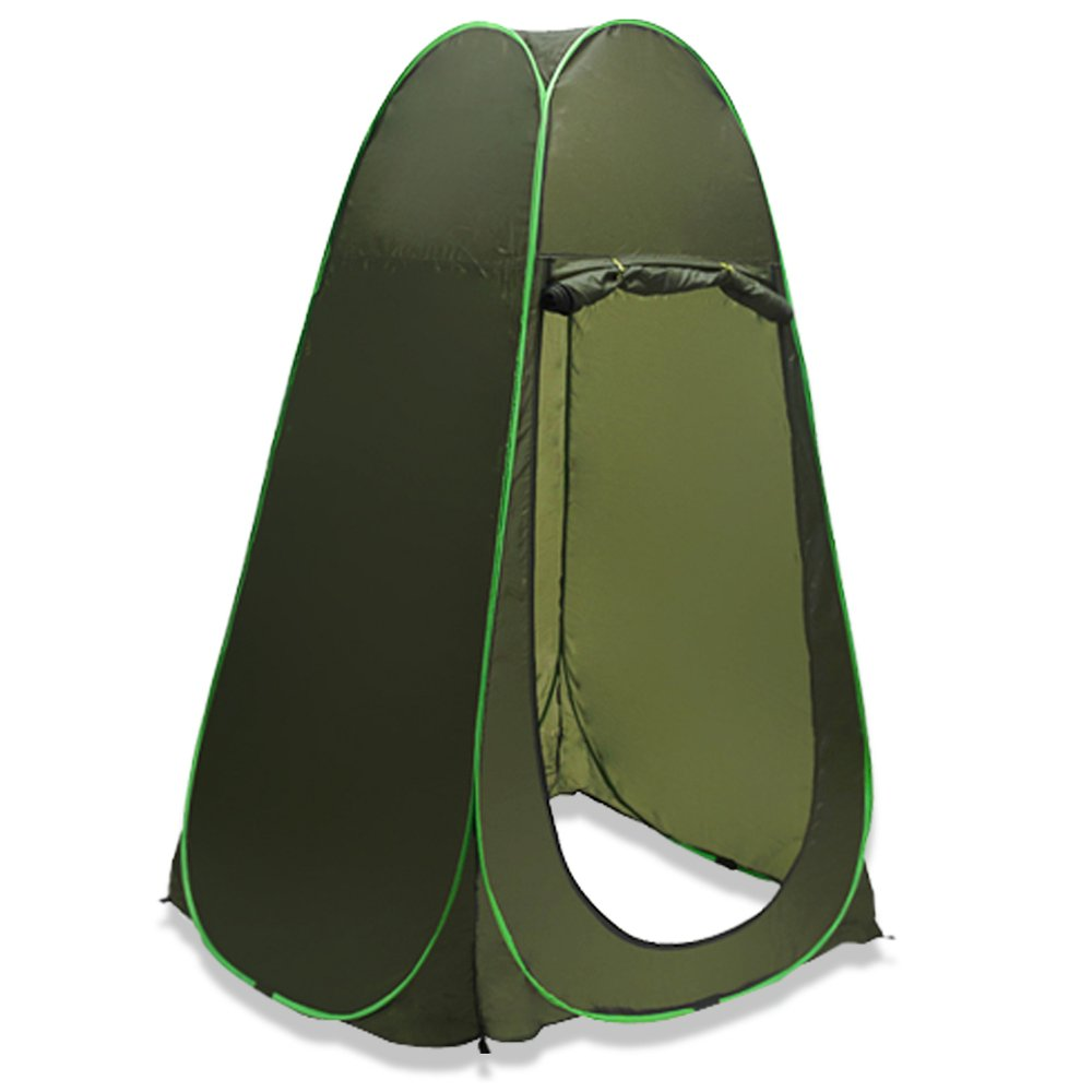 Flexzion Pop Up Dressing Tent Portable Privacy Shelter Shower Toilet Fitting Changing Room for Indoor Outdoor Photo Studio Camping Hiking Beach Park Mountain Area with Carrying Bag in Olive Green