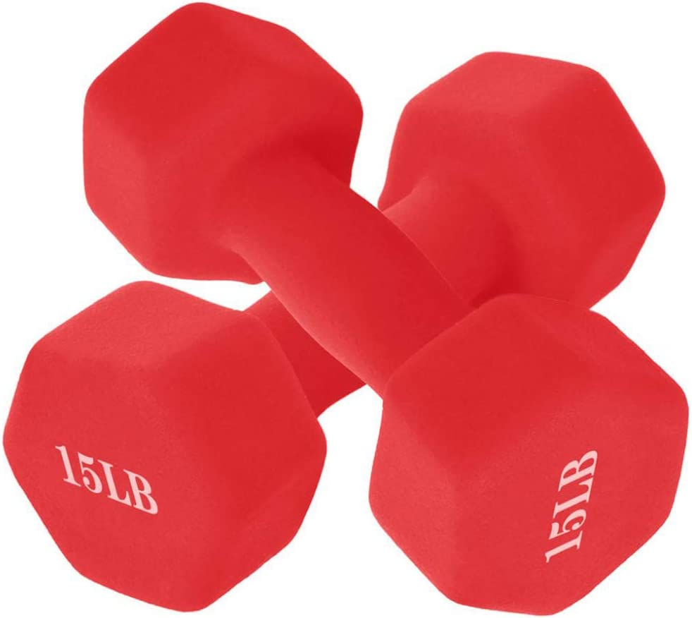 PUTEARDAT 15 Lb Dumbbell Set of 2 Red A Pair Neoprene Coated Weights 15 Pounds Hex Dumbbells for Women Men