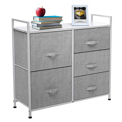KingSo Fabric 5 Drawer Dresser Storage Tower Organizer Unit with Sturdy Steel Frame and Easy-Pull Faux Linen Drawers for Bedroom Living Room Guest Room Dorm Closet - Grey (Drawer Unit Living Room)
