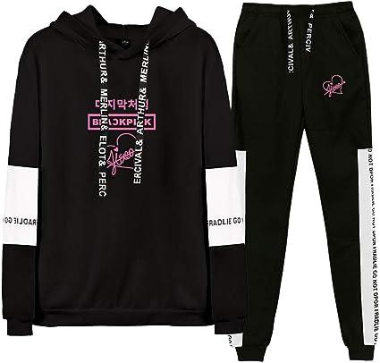 Blackpink World Tour Sportiva Abbigliamento 2 Pezzi Manica Lunga Felpa con Cappuccio e Pantaloni Jogging Tuta Sportiva Completi Sportivi Tute da Ginnastica
