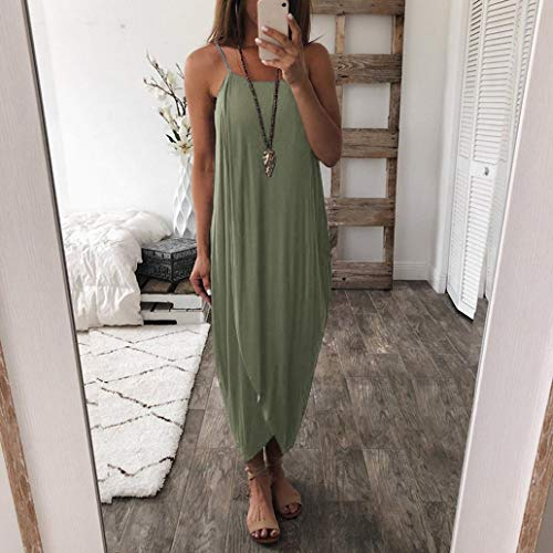 Straps Solid Dress Dress Loose Women Beach CSSD Green Party Casual Color Summer XwqIF4A