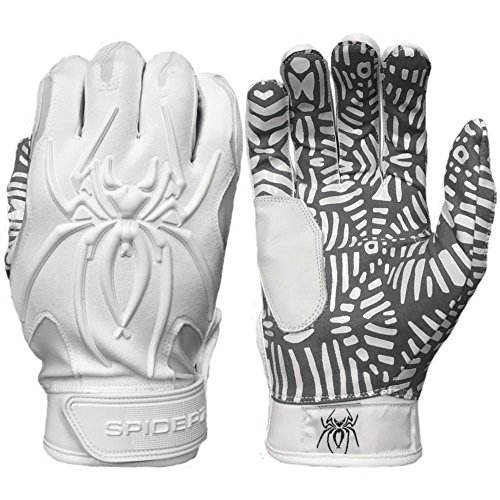 Spiderz Whiteout w/New Web Tac Grip HYBRID Baseball/Softball Batting Gloves w/Spider Web Grip and Protective Top Hand in Adult &Youth Sizes - Professional (PRO) Quality (Adult Medium)