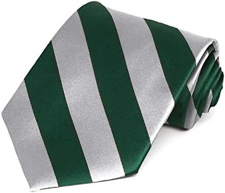 Hunter Green and Silver Striped Tie