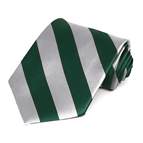 Hunter Green and Silver Striped Tie (Stripe Tie Silver)