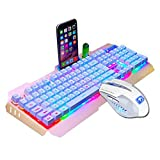 Owill LED Backlit Usb Ergonomic Mechanical Feeling Gaming Keyboard + Gamer Mouse Sets + Mouse Pad (Gold)
