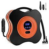 12V DC 150PSI Portable Electric Auto Air Compressor Pump and Car Tire Inflator for Car, Truck, Bicycle, RV and Other Inflatables(3 High-air Flow Nozzles & Adaptors Included,Orange)