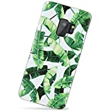 Samsung Galaxy S9 Case,VIVIBIN Green Banana Leaves,Clear Bumper Cute Slim Fit Shock Proof Flexible Glossy Soft TPU Silicon Rubber Gel Thin Protective Phone Case Cover for Galaxy S9