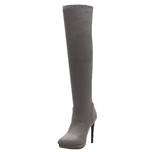JYshoes Stiletto Stiefel mit Reißverschluss Stretchstiefel