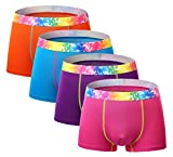 SEAOEEY Men's Boxer Briefs Multipack for Men and Boys Breathable 4 Pack Underwear Purple-Rose-Lake Blue-Orange XS/25-28 inch