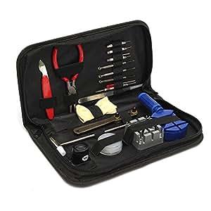 alapaste Juego de 19pcs reparación de relojes Kit de herramientas para desmontar multifuncional FamilyMall con funda de transporte