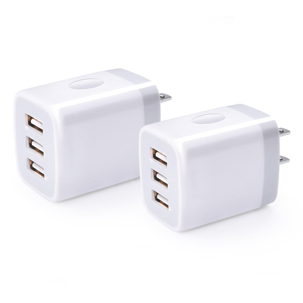USB Wall Charger Box, USB Charger Brick Base, 2Pack NINIBER 3.1A 3-Port USB Power Adapter Charging Station Cube Compatible Samsung S9/S8/S7, iPhone X/8/7, iPad, Phone Adaptive Charger Android