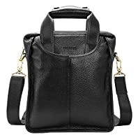 Heshe Leather Handbag Men's Briefcase Messenger Tote Top Handle Shoulder Cross Body Bags for Man Business Style
