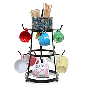 Black Metal Scrollwork Design 9 Hook Countertop Mug Storage Organizer Rack w/ Removable Accessory Basket