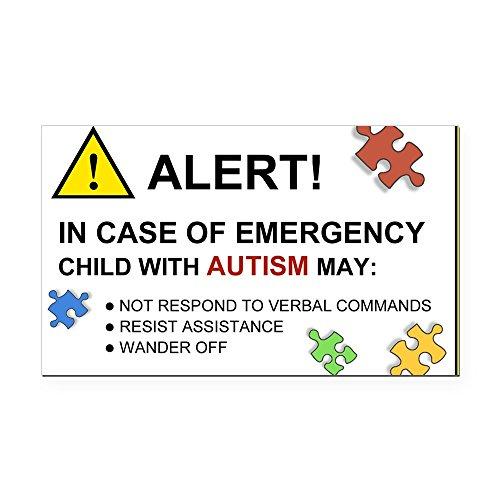 CafePress - Autism Emergency Warning Rectangle Car Magnet for - Rectangle Car Magnet, Magnetic Bumper Sticker