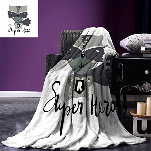 smallbeefly Nursery Throw Blanket Cartoon Style Raccoon Super Hero with a Costume and Cape Childish Animal Design Warm Microfiber All Season Blanket for Bed or Couch Multicolor -