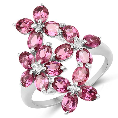 (3.57 Carat Genuine Rhodolite Garnet .925 Sterling Silver Floral Ring)