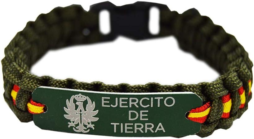 Pulsera Paracord Ejercito de Tierra España. Color Verde con Chapa de Aluminio. Med. 21.5 x 1.5 Aprox.: Amazon.es: Deportes y aire libre