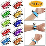 TKOnline 20 Pack Colorful Wrist Band Jingle Bells,Musical Rhythm Toys for Children(10 Colors)