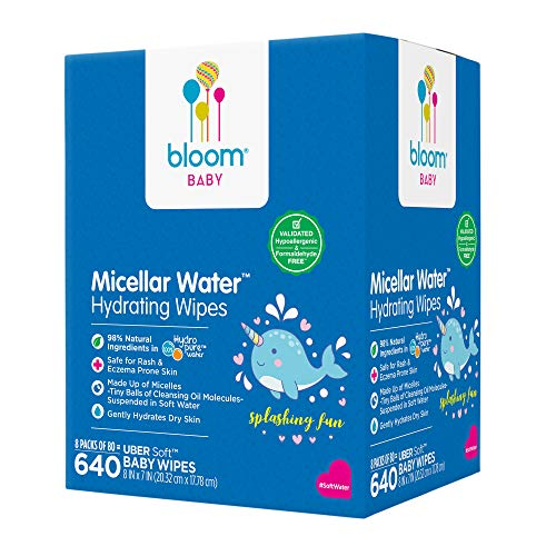 """Baby Wipes by bloom BABY, Micellar Water Hydrating Wipes, All Skin Types, Formulated for Diaper Area, Infused with Plant-Derived Vitamins, Hypoallergenic, Textured & Thick 8""""x7"""" Wipes, 640 Count"""