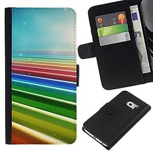 NEECELL GIFT forCITY // Billetera de cuero Caso Cubierta de protección Carcasa / Leather Wallet Case for Samsung Galaxy S6 EDGE // Colores del arco iris