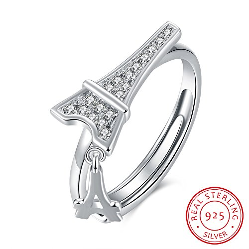 IVYRISE Resizable Romantic Eiffel Tower Pure Love Anniversary 925 Sterling Silver Adjustable Open Band Wedding Ring (Ring Tower Eiffel)