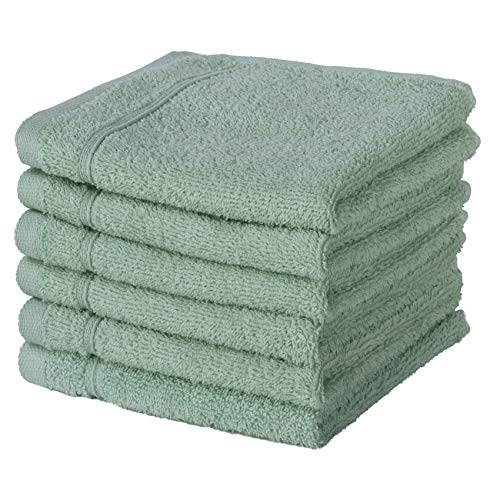 Qute Home Towel Set; Bath Towels, Hand Towels and Washcloths | Spa & Hotel Towels Quick Dry 100% Turkish Cotton Towel Sets for Bathroom, Shower Towel (Green, Washcloth - Set of 6)