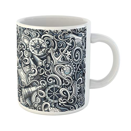 Wheel Sepia Ships - Emvency Funny Coffee Mug Cartoon Cute Doodles Nautical Monochrome Detailed with Lots Endless Funny 11 Oz Ceramic Coffee Mug Tea Cup Best Gift Or Souvenir