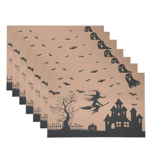 (Awtlife Placemat, Set of 6 Table Mats,Haunted House - Perfect for Halloween, Heat Resistant Tablemats Dinner)