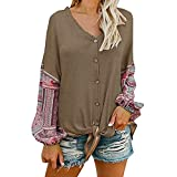 SMALLE ◕‿◕ Clearance,Cardigan for Women,s V Neck Tie Knot Front Henley Shirt Button up Patchwork Cardigan Blouse