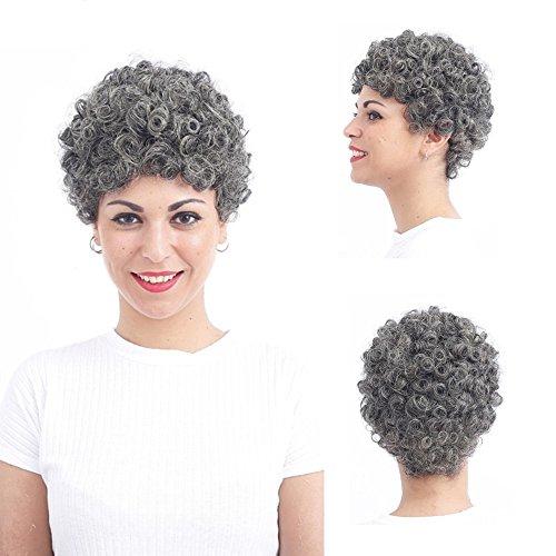 Meiler Brazilian Virgin Human Hair Wigs Cap Non Lace Short Wigs For Black Women Wig (medium length, #Gray-4) -