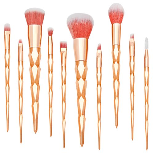 Qivange Makeup Brush Set, Fabulous Unicorn Makeup Brushes Foundation Blush Eyeshadow Lip Cosmetic Brushes with Gift Box (Rose Gold, 10pcs)