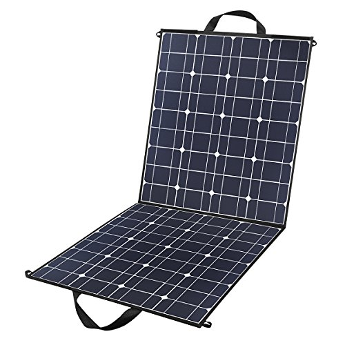 100 Watts 12 Volts Portable Solar Panel Kit Charger Foldable Flexible Monocrystalline Solar Charger with MC4 Connector and Dual-port(USB 5V + DC 18V) for Outdoors, Camping, Solar Generator, RV, Boat -