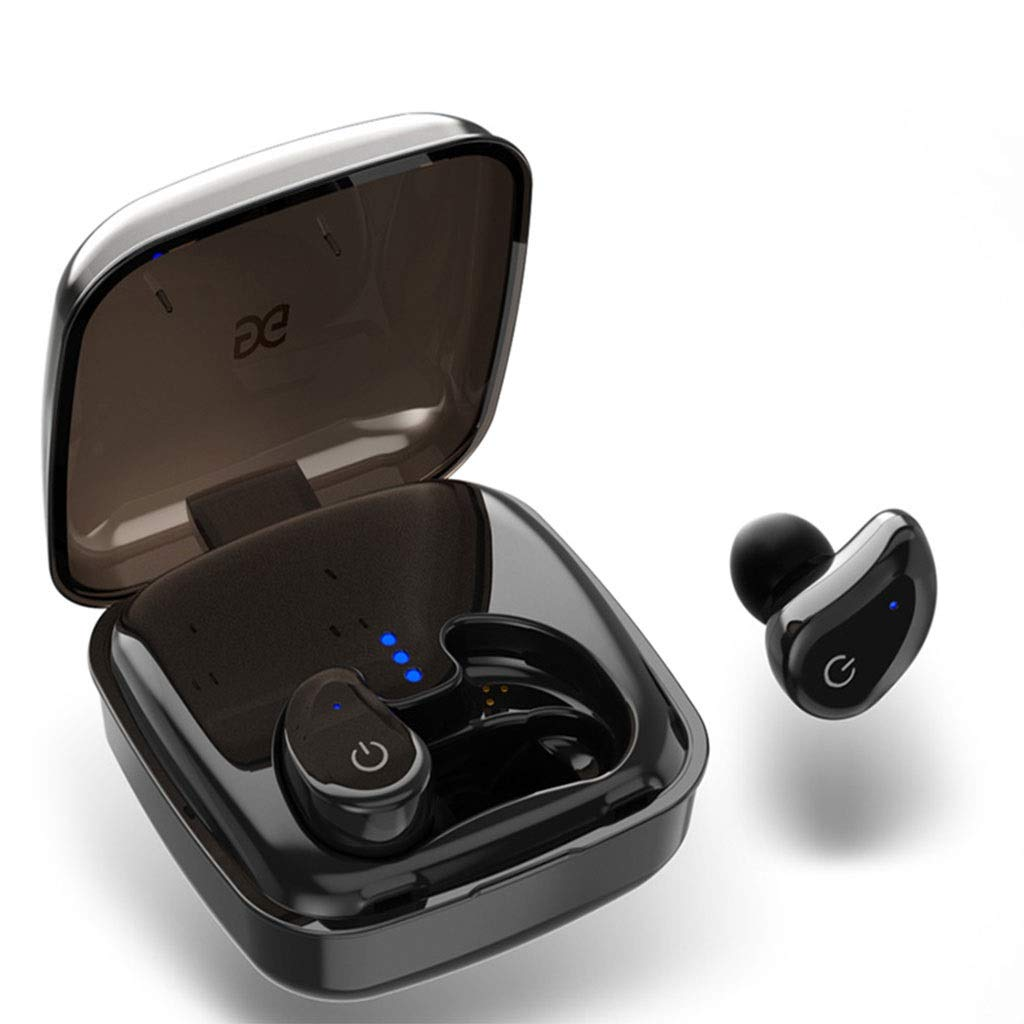Wireless Bluetooth Headset Mini Ultra Small Sports Running for Apple X Binaural in-ear Micro Earbuds Invisible Hanging Ear Type Long Standby Universal Driving Can Answer the Phone ( color : Black ) by Mobeka