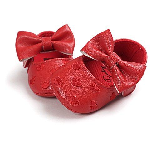 De Niño Rojo Bowknot Único 0 Antideslizante Para Meses Zapatillas Niña Cuero auxma Zapatos Suave Bebé 18 RxqwfUwC