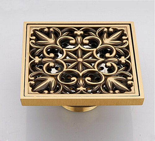 ROZIN Solid Brass Carving Pattern Balcony Bathroom Square Floor Drain 10*10cm Antique Brass by ROZINSANITARY
