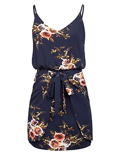 Women Floral Spaghetti Strap Sleeveless Stretch Waist Dress Size XL Navy Blue ()
