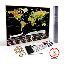 Travel Bucket List Scratch Off Travel World Map Wall Poster With Country Flags. Great Gift For Travelers. Large Size 32.5 x 23.5 Inches. Includes Free Travelers Gift - Keychain And Many More Extras