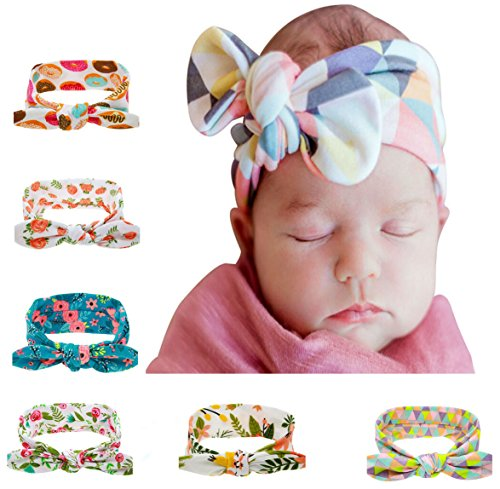 Price comparison product image Baby Girl Turban Headbands and Bows Newborn Hair Bows and Headbands Chiffon Flower Elastic Headband (1)
