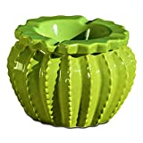 Whole House Worlds The Tropical Cactus Ashtray, Glazed, Lush Green 2 Pieces, Hand Cast Ceramic, 4 3/4 Inches Diameter,