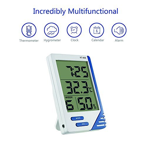 Tongji Digital Hygrometer Thermometer Indoor and outdoor Humidity Monitor with Temperature Gauge Humidity Meter (KT908)
