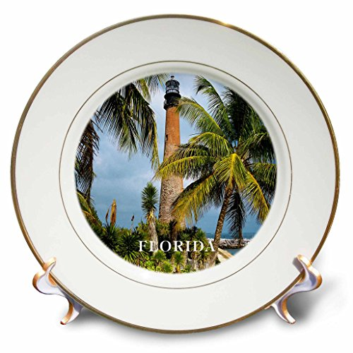 3dRose cp_80776_1 1831 Cape Florida Lighthouse-Porcelain Plate, 8-Inch